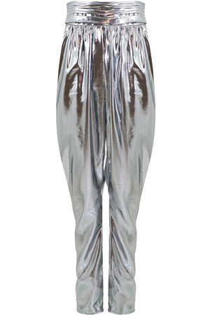 KARIAM DRAPED PANT METALLIC SILVER