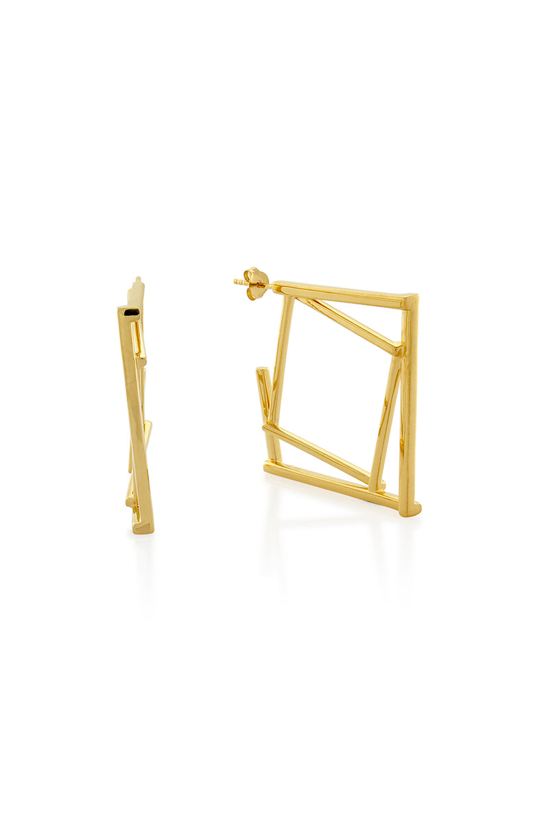 DOUBLE SQUARE EARRINGS GOLD