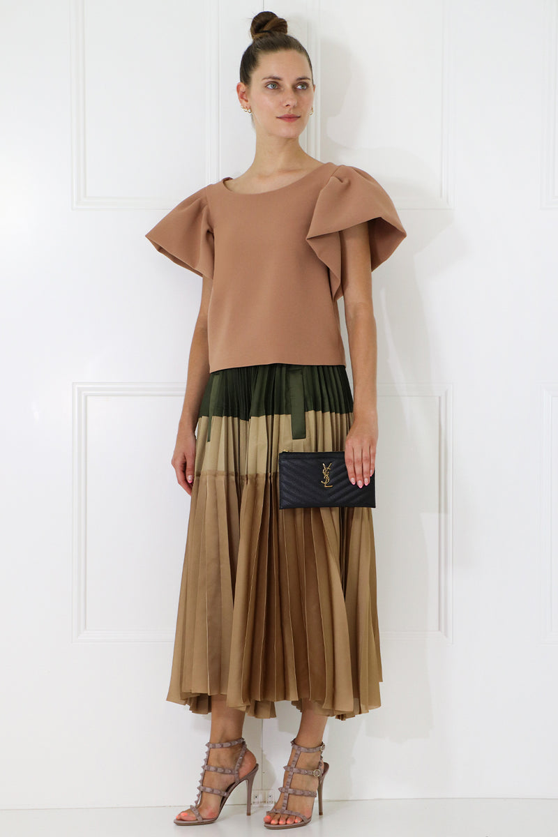 TISSUE CROP TOP WITH PUFF SLEEVE NUTMEG