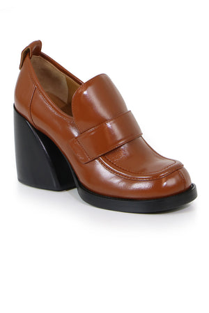 ADELIE LOAFER WITH BLOCK HEEL CHESTNUT BROWN