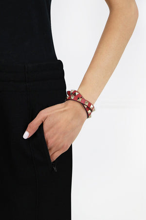 ROCKSTUD WRAP LEATHER CUFF ROCK PINK
