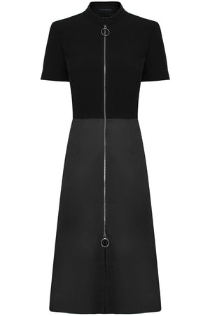 ZIPPED MIDI DRESS S/S BLACK