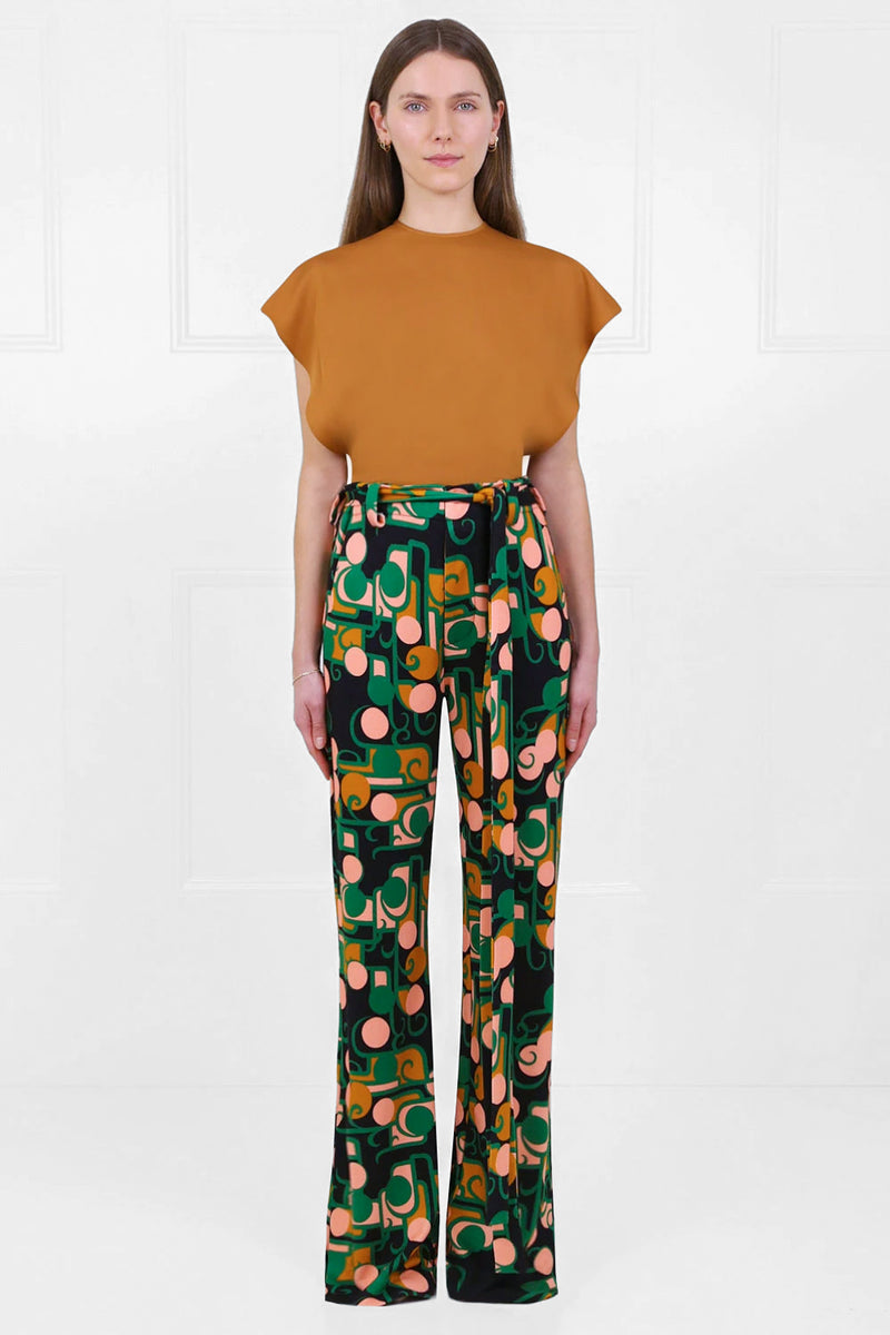 TISSUE CROP TOP WITH PUFF SLEEVE SUNFLOWER