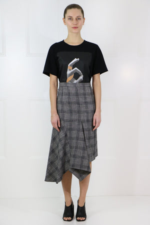 DIESTY CHECK MIDI SKIRT BLACK/ECRU