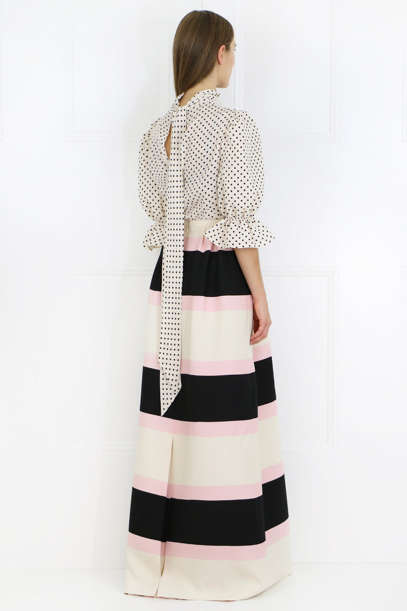 CONTRAST STRIPE MAXI SKIRT LIGHT PINK