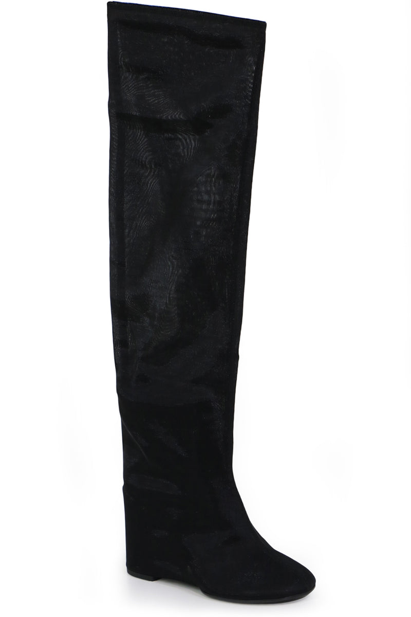 KNEE HIGH BOOT WITH MESH WEDGE BLACK