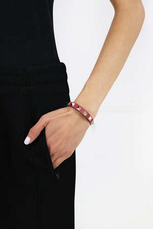 ROCKSTUD LEATHER CUFF ROCK PINK