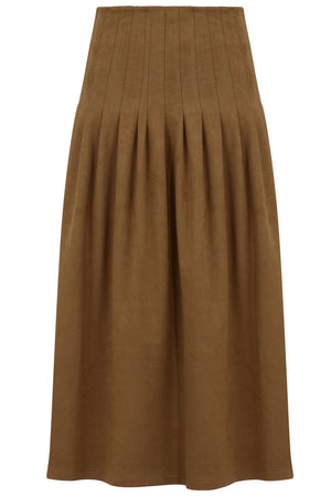 ANNA FAUX SUEDE SKIRT TAN