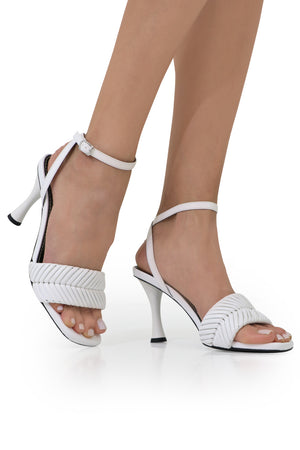 BRAIDED SANDAL 85MM WHITE