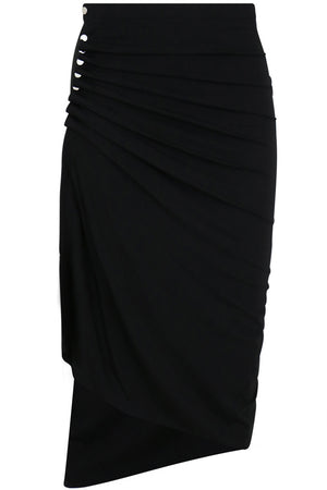 ASYMMETRIC RUCHED SKIRT BLACK