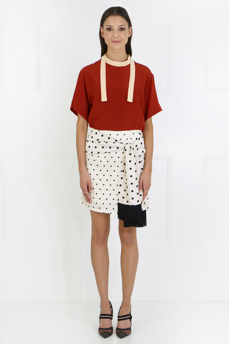 CHERRY SKIRT IVORY POLKA DOT