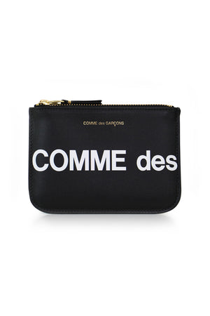 SMALL 'HUGE LOGO' LEATHER POUCH BLACK