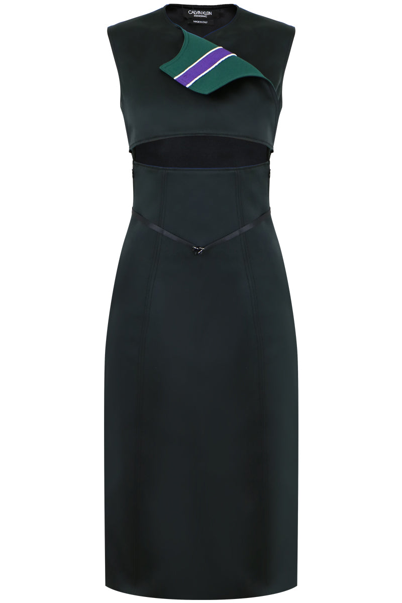 CONTRAST STRIPE CUT-OUT DRESS BLACK/DARK GREEN