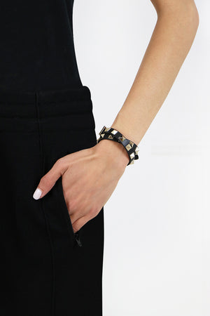 ROCKSTUD WRAP LEATHER CUFF BLACK