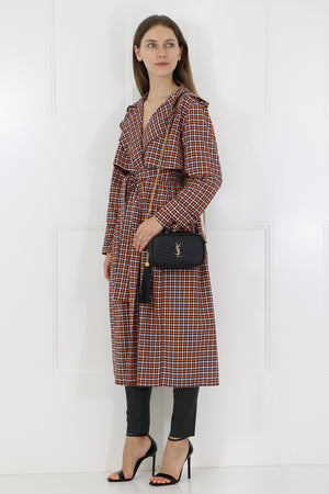 TAILORED TRENCH COAT BROWN CHECK
