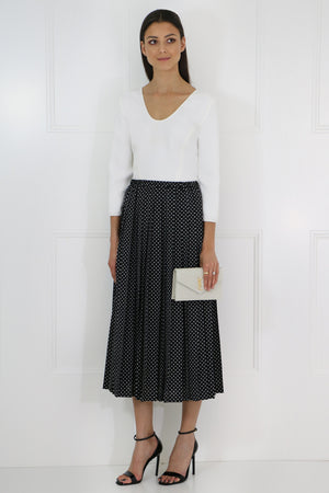 POLKADOT PLEATED SKIRT BLACK/WHITE