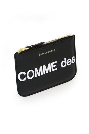 SMALL HUGE LOGO LEATHER POUCH BLACK