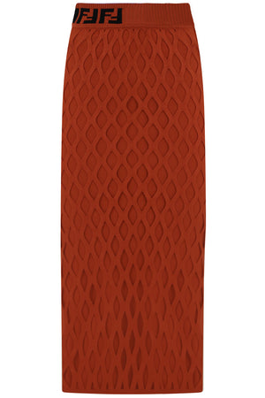 CUTOUT KNIT PENCIL SKIRT RUST