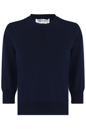 CROP KNIT SWEATER 3/4SL NAVY