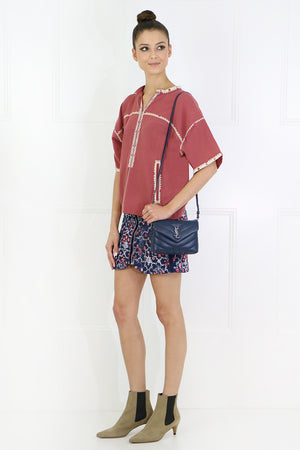 ETOILE RIKKI TEE WITH EMBROIDERY S/S ROSEWOOD