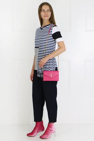 ASYMMETRIC STRIPE T-SHIRT WITH FRINGE S/S NAVY/WHITE