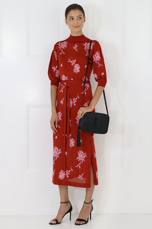 FLORAL JACQUARD DRESS S/S RED