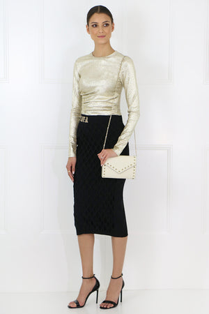 CUTOUT KNIT PENCIL SKIRT BLACK