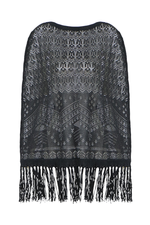 FRINGED KNIT PONCHO BLACK