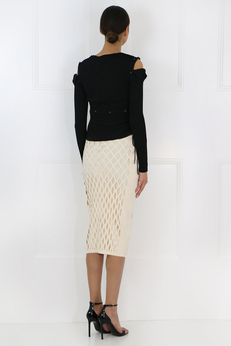 CUTOUT KNIT PENCIL SKIRT CREAM