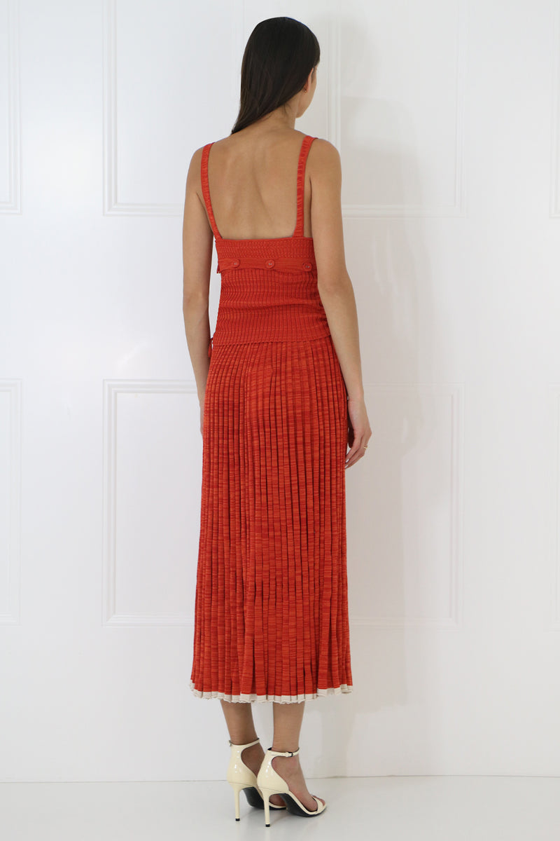 PLEATED KNIT SKIRT RED MARLE