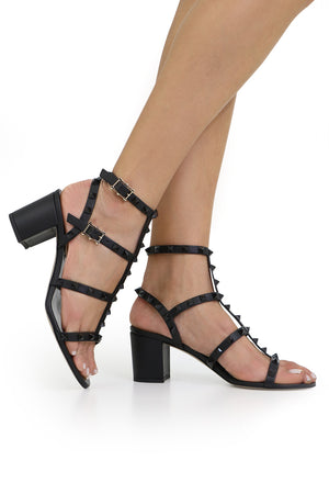 ROCKSTUD FOUR STRAP BLOCK HEEL 60MM SANDAL BLACK