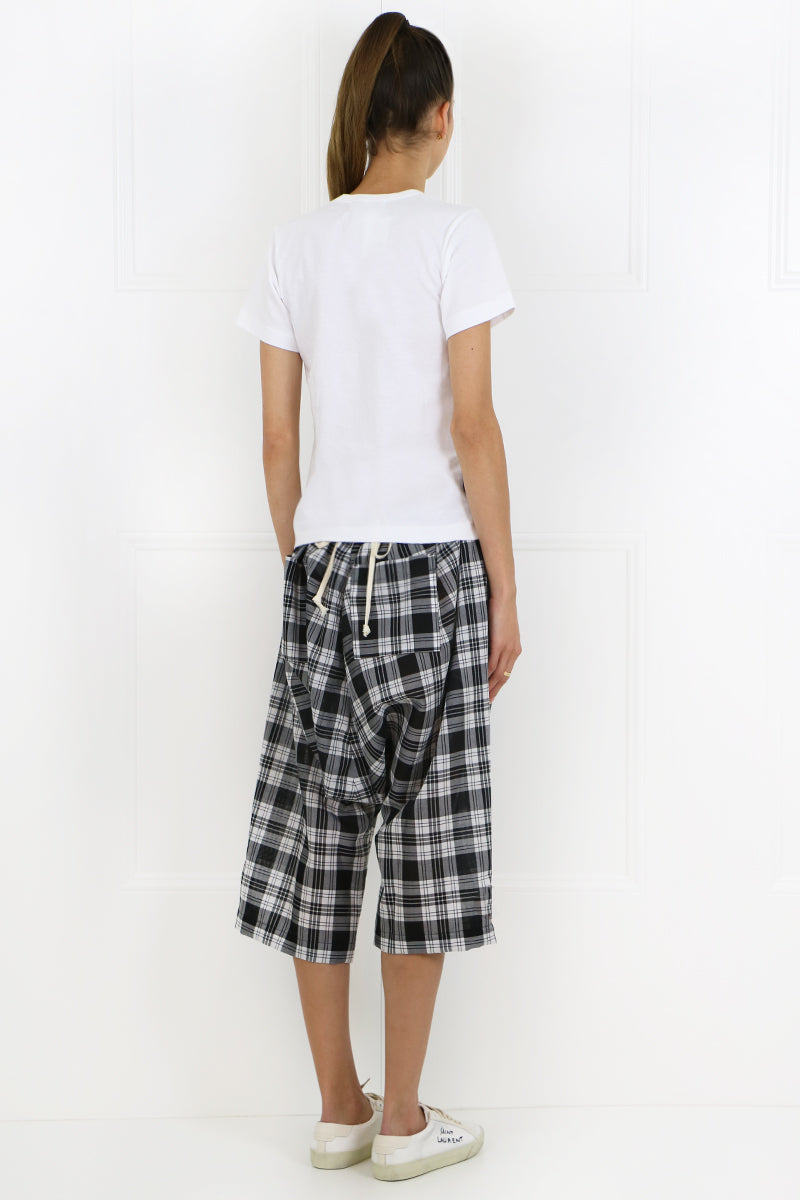TRICOT CHECK PRINT DROP CROTCH PANTS BLACK/WHITE