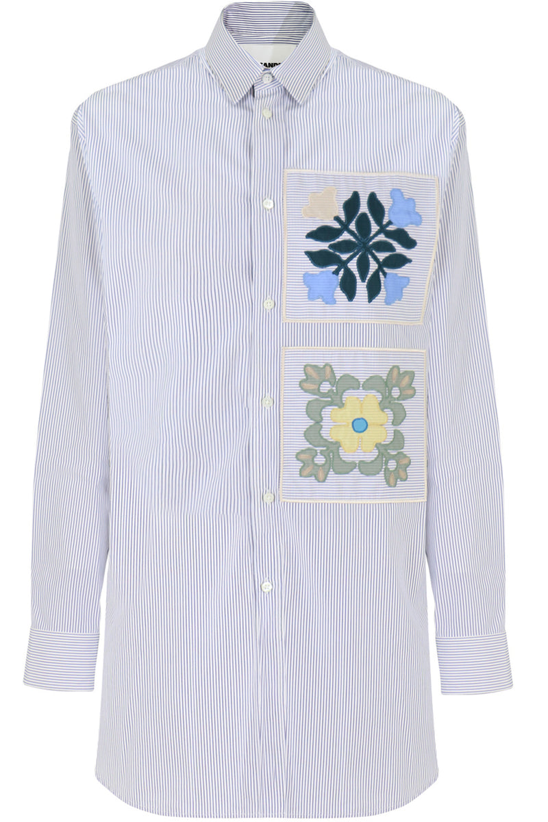 EMBROIDERED STRIPE SHIRT BLUE/WHITE