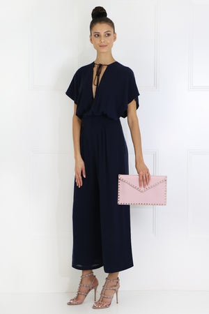 SKY JUMPSUIT WITH DEEP CUTOUT CAP/SL NAVY