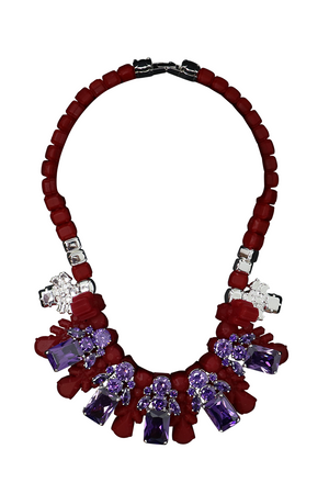 SILICONE FIVE JEWEL & METAL NECKPIECE RED/AMETHYST CRYSTALS