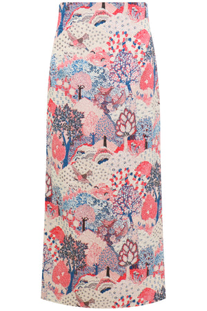 CHRISSI FOREST PRINT MIDI SKIRT CREAM