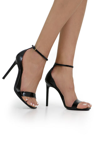 AMBER SANDAL 105MM PATENT BLACK
