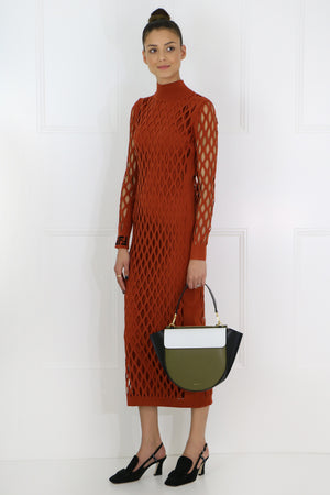 CUTOUT KNIT DRESS L/S RUST