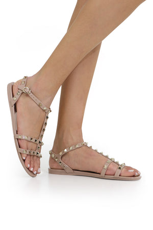 ROCKSTUD SANDAL WITH ANKLE STRAP POUDRE