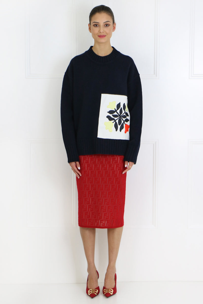 FLORAL PATCHWORK SWEATER L/S NAVY