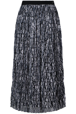 TRICOT PLEATED LAME SKIRT SILVER
