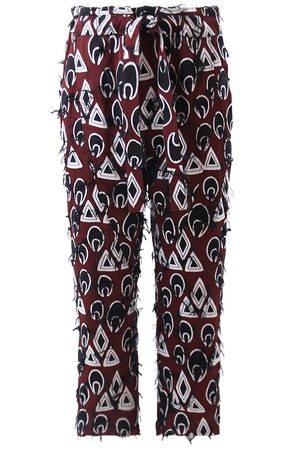 DROP CROTCH HAREM PANTS ORIENTAL JACQUARD BURGUNDY