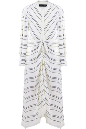 FLOAT STRIPE MIDI DRESS L/S WHITE
