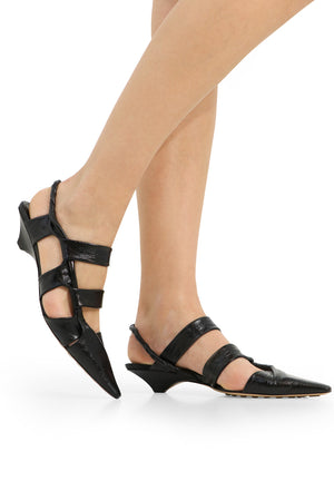 POINT TWISTED STRAP HEEL 3CM BLACK