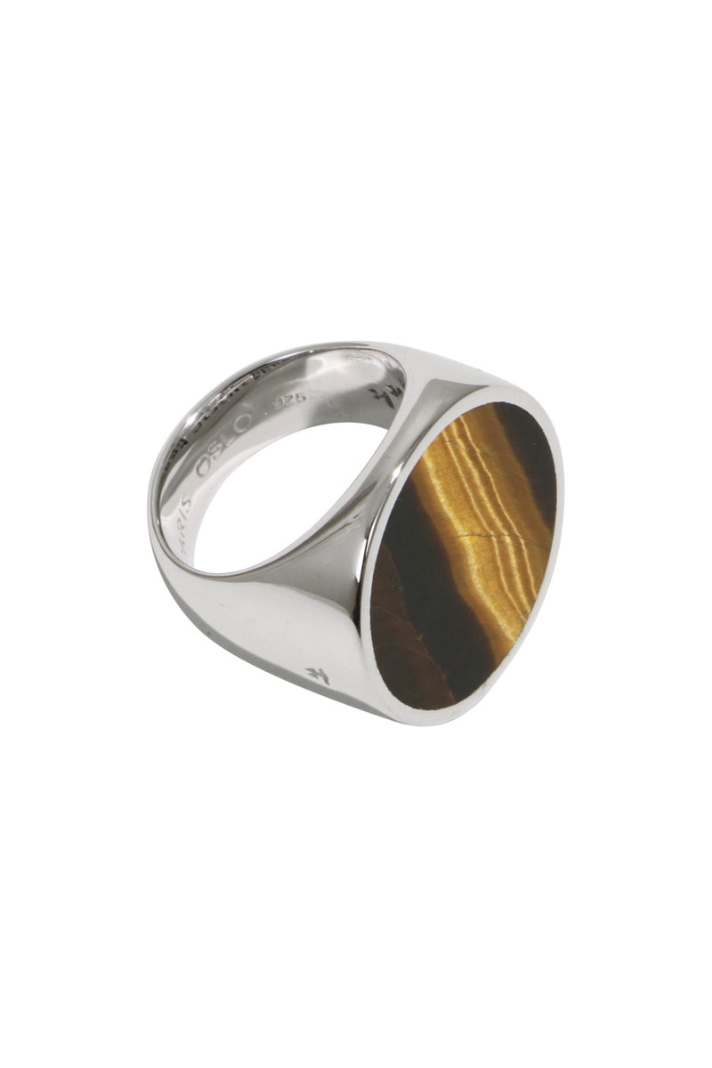 FLUSH TIGER EYE CIRCLE RING SILVER