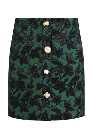MOLLY FLOWER PRINT MINI SKIRT GREEN
