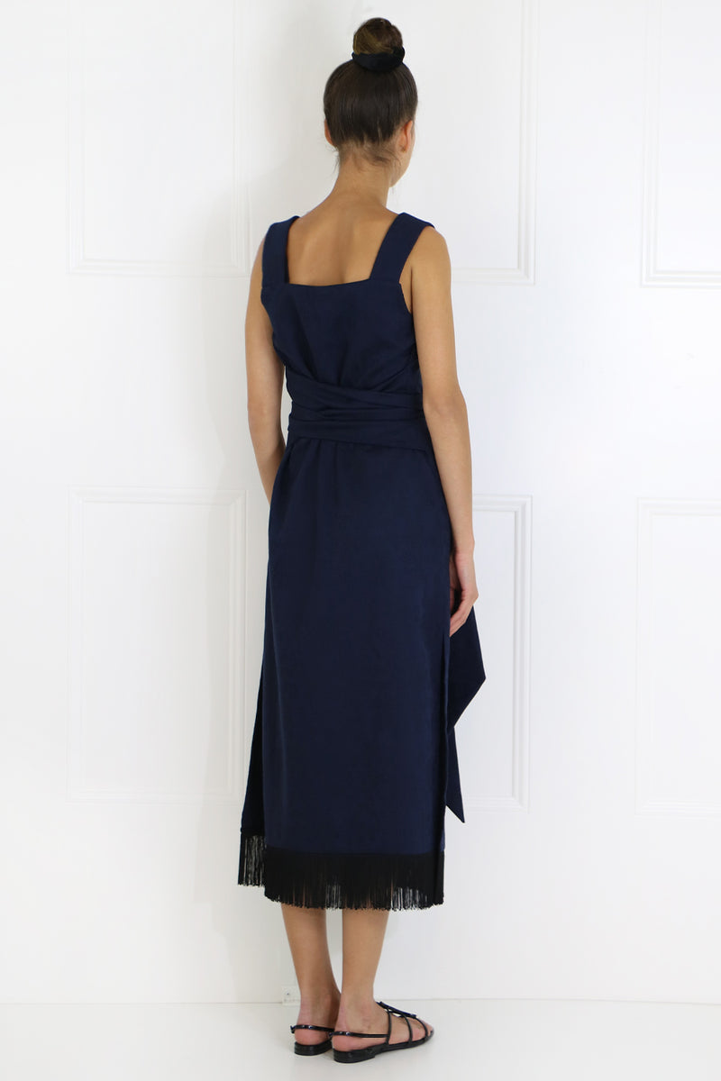 JANE MIDI DRESS WITH FRINGE HEM S/LESS NAVY