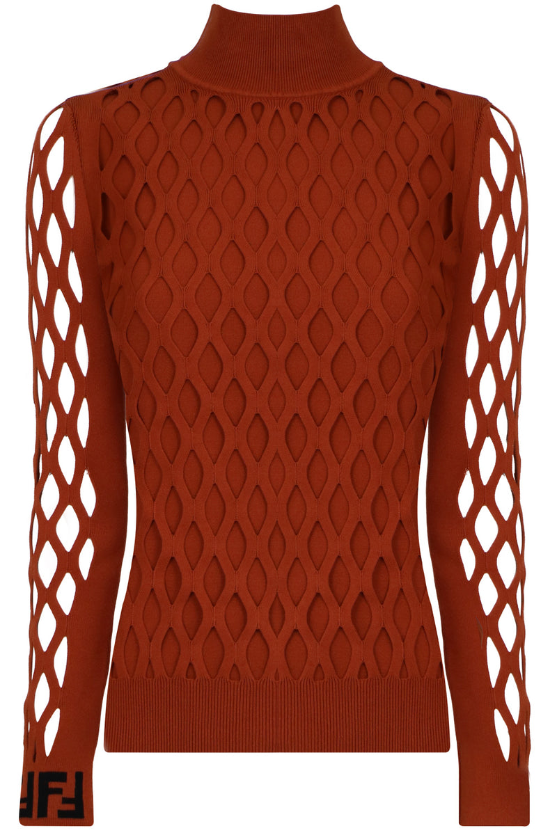 CUTOUT KNIT L/S RUST