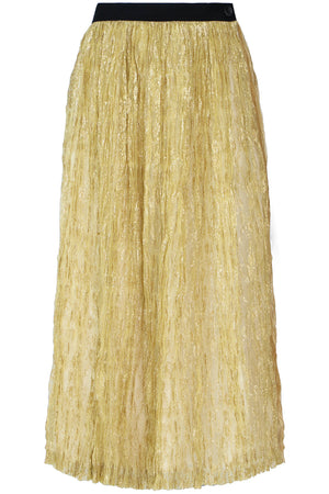 TRICOT PLEATED LAME SKIRT GOLD