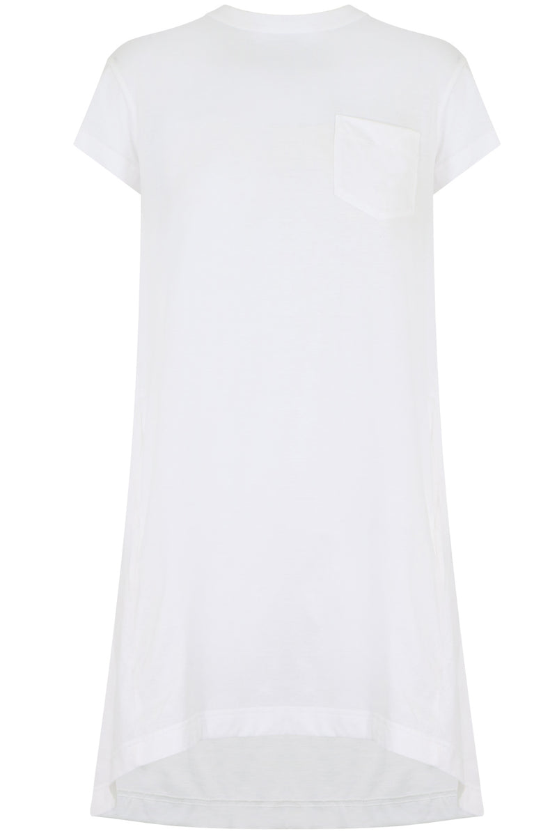 LACE UP BACK T-SHIRT DRESS S/S WHITE